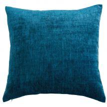 Coussin en velours bleu canard 60x60 - 60x60x10cm - Maisons du Monde