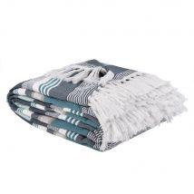 Decke mit blau, weiß und beige Streifen und Fransen 240x270 - Blau - 240x270x0cm - Maisons du Monde