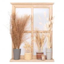 Déco murale fenêtre en paulownia, verre et feuilles séchées 45x60 - 45x60x5.5cm - Maisons du Monde