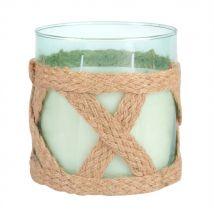 Duftkerze im blau getönten Glas mit Schnurdekor - 12x13x0cm - Maisons du Monde