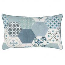 Fodera di cuscino in cotone blu, bianco e grigio stampato, 30x50 cm - Blu - 30x50x0cm - Maisons du Monde