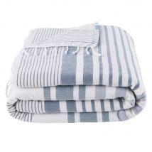 Fouta en coton écru motifs graphiques bleus 100x200 - Blanc - 100x200x0cm - Maisons du Monde