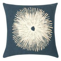 Funda de cojín de algodón azul y dibujos con bordados blancos 40x40 - Azul - 40x40x0cm - Maisons du Monde