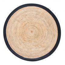Geflochtener runder Juteteppich mit schwarzer Umrandung D180 - 180x180x5cm - Maisons du Monde