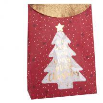 Geschenktüte aus rotem bedrucktem Papier mit goldfarbenen Glitzer - 20.5x28x9cm - Maisons du Monde