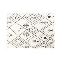 Getufteter Teppich in Ecru mit grafischen Motiven in Schwarz 140x200 - 140x200x2cm - Maisons du Monde