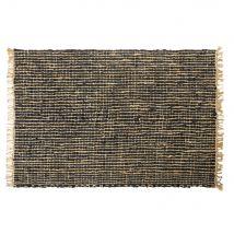 Gewebter Teppich aus schwarzem Kuhleder und Jute 160x230 - 160x230x2cm - Maisons du Monde