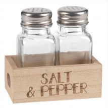 Glass Salt and Pepper Pots with Engraved Holder - 10x4x6cm - Maisons du Monde