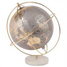 Globe terrestre carte du monde gris, doré et blanc - Gris - 25x27x20cm - Maisons du Monde
