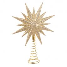Gold Glitter Star Christmas Tree Topper - 11.5x16x0cm - Maisons du Monde