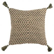 Green and Beige Woven Cotton Cushion with Tassels 45x45 - 45x45x0cm - Maisons du Monde