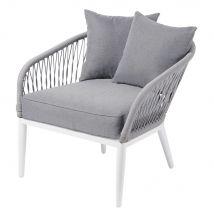 Grey Woven Cord Garden Armchair Endoume - 74x72x78cm - Maisons du Monde