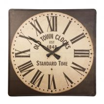 Horloge carrée en lin, coton et métal 140x140 - Noir - 140x140x3cm - Maisons du Monde