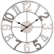 Horloge en sapin et métal gris - Multicolore - 70x70x1.7cm - Maisons du Monde