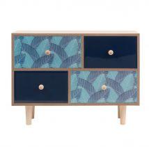 Kästchen mit 4 Schubladen und Blattmuster - Blau - 30x22x10cm - Maisons du Monde