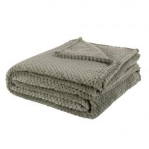 Khaki Blanket with Print 150x230 (150x230x0cm) - Maisons du Monde