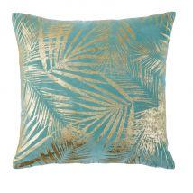 Kissen aus blauem Samt mit goldenem Laubwerk-Aufdruck 45x45 - Blau - 45x45x10cm - Maisons du Monde