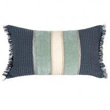 Kissenbezug aus Baumwolle, blau und goldfarben 30x50 - Blau - 30x50x0cm - Maisons du Monde