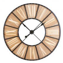 Klok van grenenhout en zwart metaal D107 - Beige - 106.5x106.5x5cm - Maisons du Monde