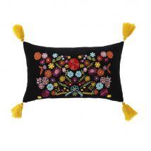 Kussen van zwart velours met meerkleurig bloemenmotief en kwastjes 30x50 - Veelkleurig - 50x30x10cm - Maisons du Monde