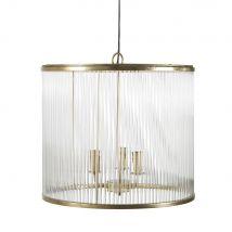 Lámpara de techo de tambor de cristal con 3 ramas de metal dorado - 52x49x52cm - Maisons du Monde
