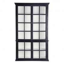 Libreria a 4 antes a vetri in mango nero Descartes - Nero - 135x230x45cm - Maisons du Monde