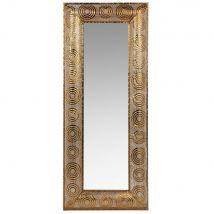 Metalen spiegel met goudkleurige grafische motieven 50x120 - Goud - 50x120x4.5cm - Maisons du Monde