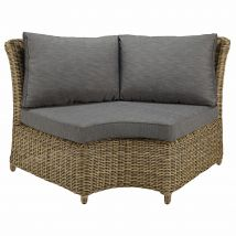 Modular round garden corner sofa unit in resin wicker with grey cushions St Raphaël - 156x86x89cm - Maisons du Monde
