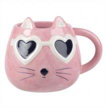 Mug in maiolica gatto con occhiali rosa - Rosa - 9x8.5x0cm - Maisons du Monde