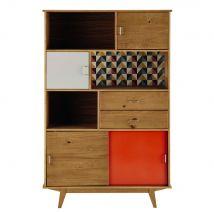 Multicoloured Vintage-Style 2-Drawer 4-Door Bookcase Paulette - 116x180x35cm - Maisons du Monde