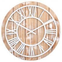 Orologio effetto listelli e metallo bianco D. 46 - Bianco - 45.8x45.8x4.5cm - Maisons du Monde