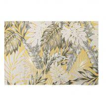 Outdoor-Teppich, gelb, bedruckt mit Blattmotiven 155x230 - Gelb - 155x230x1cm - Maisons du Monde