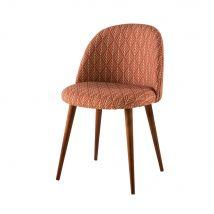Patterned Terracotta Vintage Chair with Solid Birch Mauricette (50x76x50cm) - Maisons du Monde