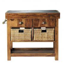 Piano d'appoggio in massello di legno di sheesham e ardesia L 95 cm Lubéron - 95x85x46cm - Maisons du Monde