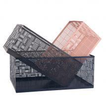 Pink, Grey and Blue Metal Boxes (x3) - 29x12x20cm - Maisons du Monde