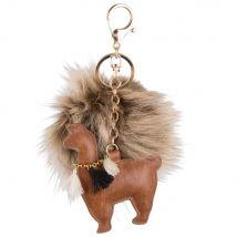 Porte-clés lama à pompon marron - 10x15x0cm - Maisons du Monde