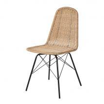 Rattan Effect Resin Wicker and Black Metal Garden Chair Beckett - 44x86x58cm - Maisons du Monde