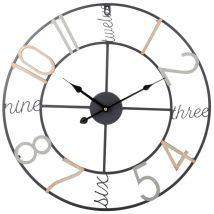 Reloj de metal de color D.50 - Negro - 50x50x4.5cm - Maisons du Monde