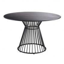 Round Matte Black Metal 4-Seater Garden Table D121 Meknes - 120x71x120cm - Maisons du Monde