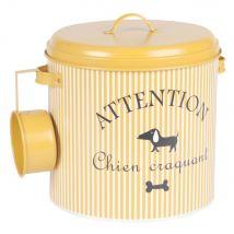 Scatola porta crocchette per cane in metallo giallo senape a righe - Giallo - 27x24.5x27cm - Maisons du Monde
