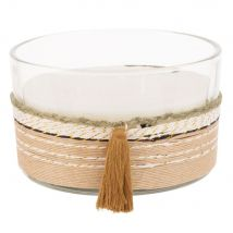 Scented Candle with 3 Wicks in Glass and Cord Holder (13x8x0cm) - Maisons du Monde