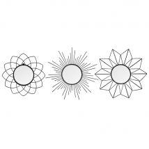 Set aus 3 runden Spiegeln mit Metallrahmen D.25 - Schwarz - 25x25x2cm - Maisons du Monde