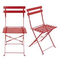 Set of 2 Metal Folding Garden Chairs with Red Epoxy Coating H80 Guinguette - 42x80x48cm - Maisons du Monde