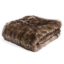 SHEFFORD faux fur blanket in brown 150 x 180cm - 180x150x3cm - Maisons du Monde