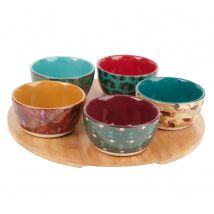 Snack Tray with 5 Tropical Print Earthernware Bowls (0x0x0cm) - Maisons du Monde