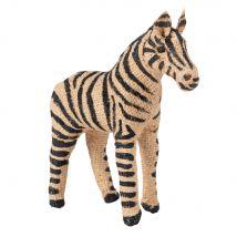 Statuetta zebra in cotone e acciaio, 16 cm - Nero - 16x16x6cm - Maisons du Monde