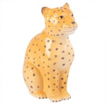 Statuette léopard en dolomite H18 - Jaune - 13.5x18x9cm - Maisons du Monde