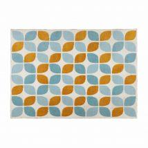 Stoffteppich mit orangefarbenen und blauen Motiven 140x200 SEVEN - 140x200x0cm - Maisons du Monde