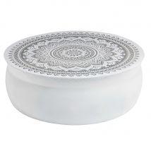 Table basse en aluminium martelé blanc motifs argentés Mandala - Gris - 91x31x91cm - Maisons du Monde