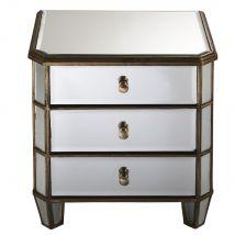 Table de chevet 3 tiroirs en métal et miroir Athenee - 48x50x38cm - Maisons du Monde